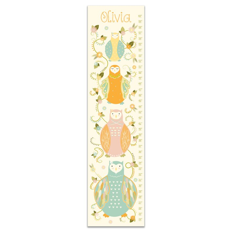 Harriet Bee Durazo Floral Owls Personalized Growth Chart Wayfair
