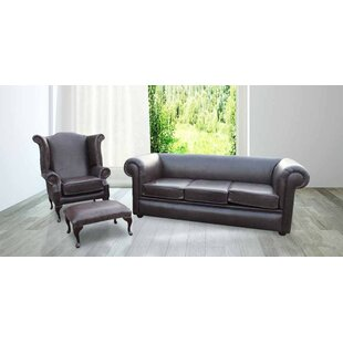 Roderica Chesterfield 3 Piece Leather Sofa Set By Marlow Home Co.