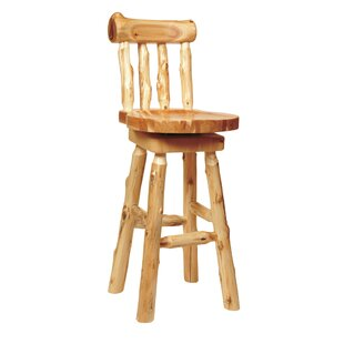 Traditional Cedar Log 24 Swivel Bar Stool Fireside Lodge