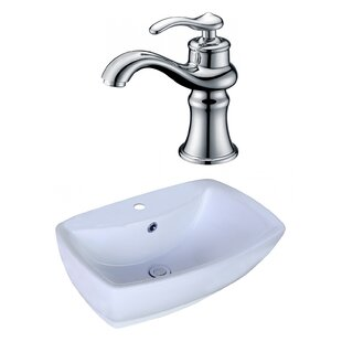 Bargain Ceramic Rectangular Vessel Bathroom Sink with Faucet and Overflow ByAmerican Imaginations