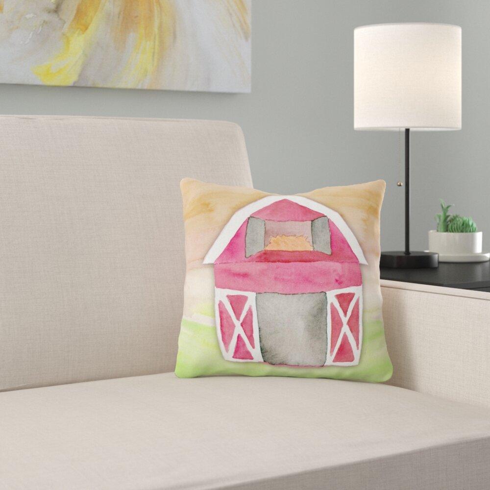 East Urban Home Barn Watercolor Indoor Outdoor Throw Pillow Wayfair
