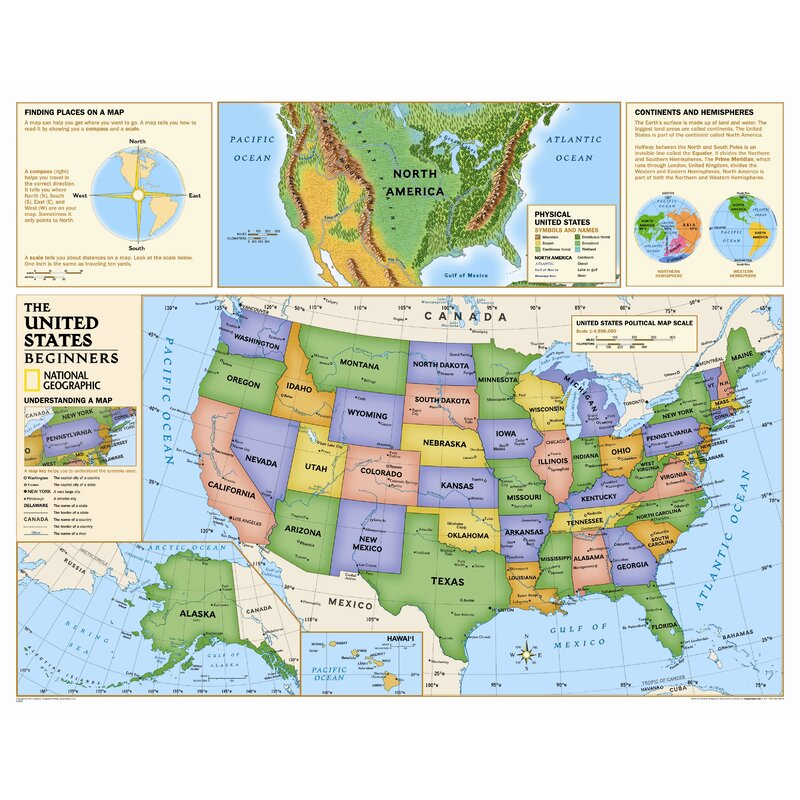 National Geographic Maps Kids Beginners Usa Wall Map Grades K 3