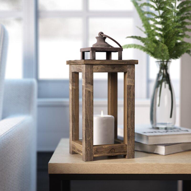 Rustic Pillar Wood Lantern