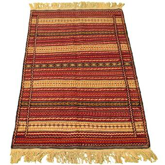Foundry Select Ybanez Handmade Kilim Wool Tan Orange Red Rug Wayfair