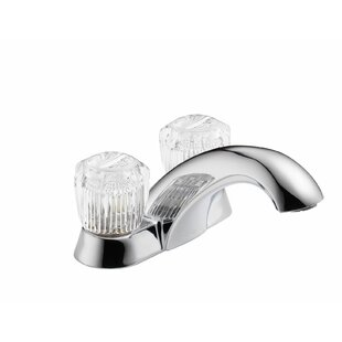 Delta Classic Centerset Bathroom Faucet with Clear Knob Handles and Pop-Up Hole
