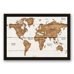 World map framed art youll love wayfair distressed world map graphic art print on canvas gumiabroncs Images
