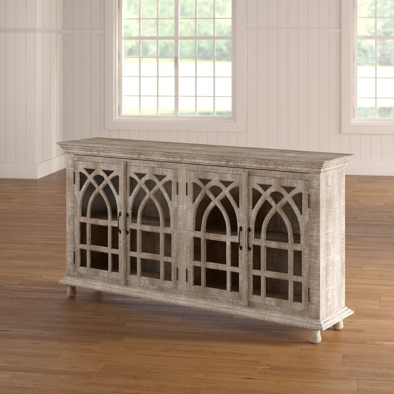 Eligah Mango Wood Cathedral Design Tall 4 Door Accent Cabinet