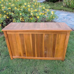 Charlton Home Highlawn Acacia Flip Top Solid Wood Deck Box