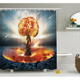Fabric Atomic Bomb Explosion Shower Curtain + Hooks