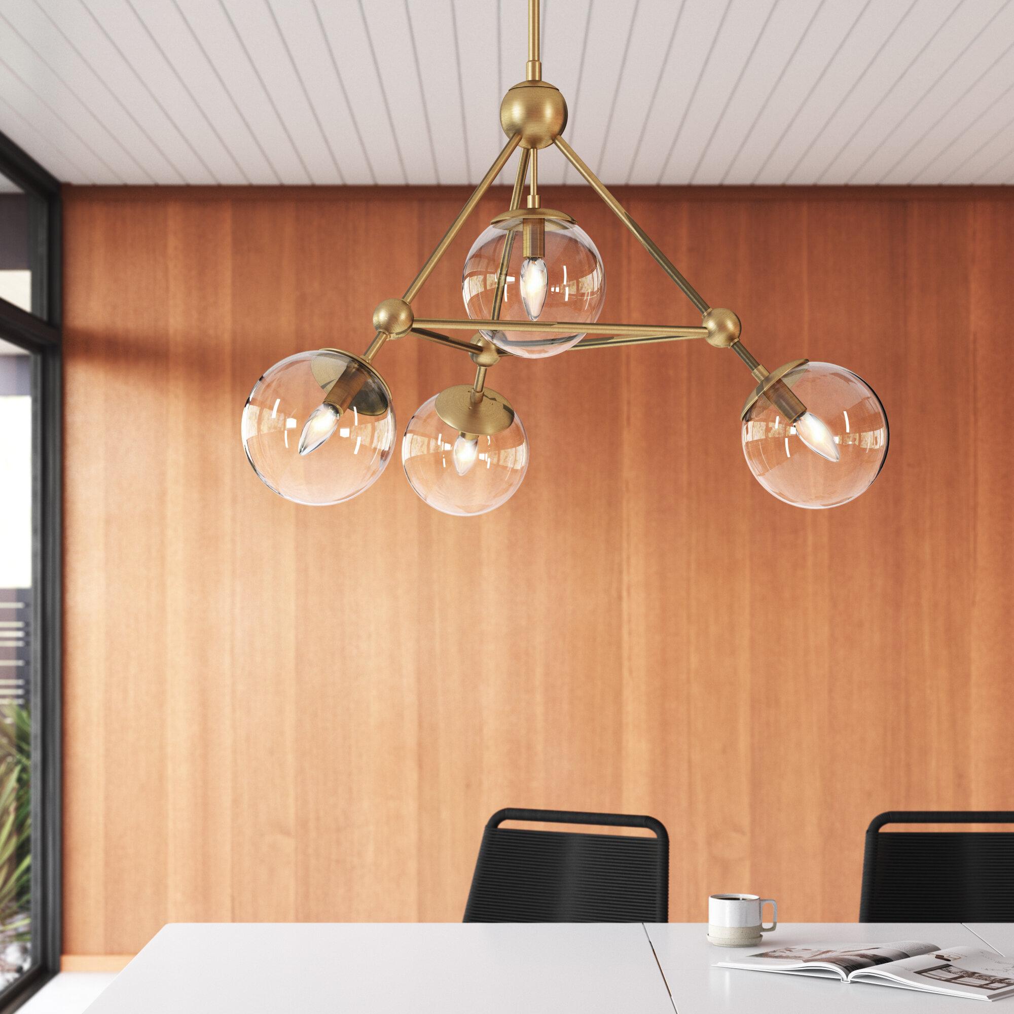 Coralie 4 Light Unique Statement Geometric Chandelier Reviews Allmodern