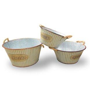 3 Piece Garden Tin Pot Set by National Tree Co.