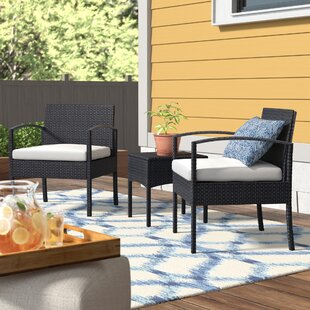 Howze 3 Piece Conversation Seating Group with Cushions by Wrought Studio