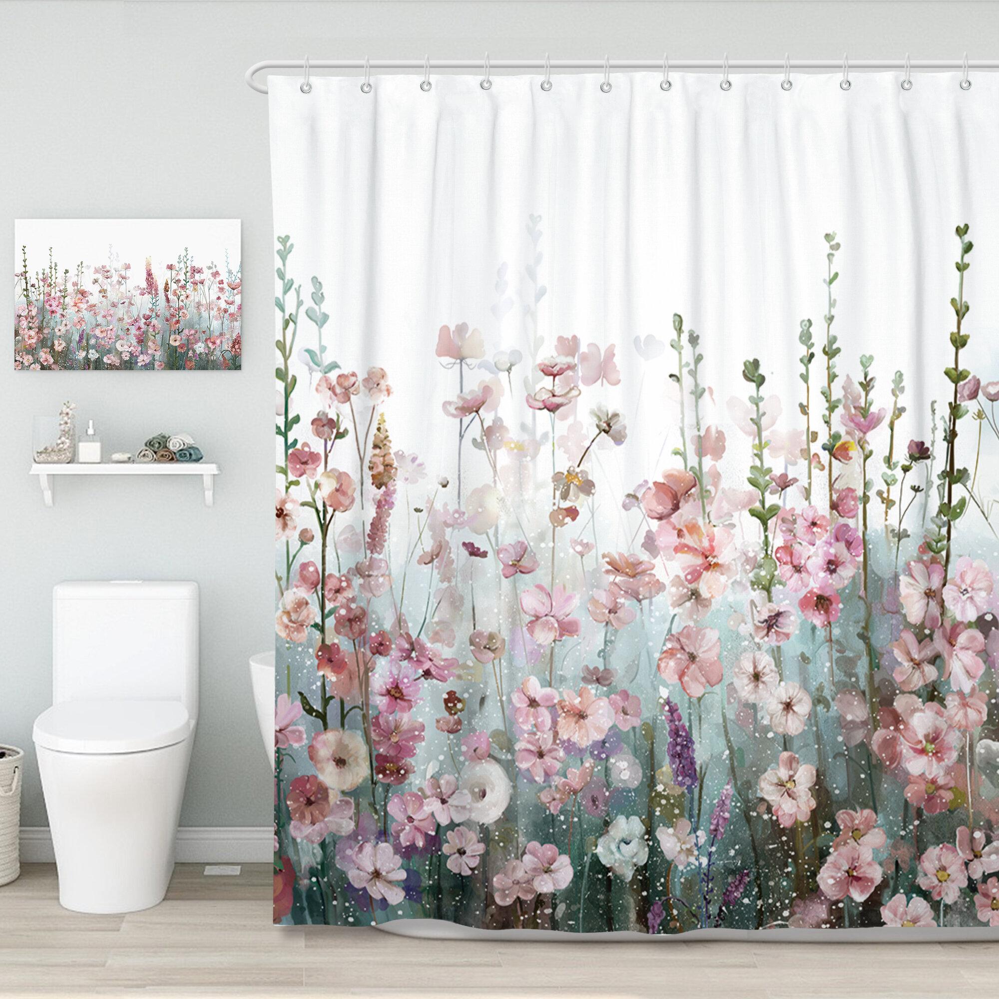 Winston Porter Alyra Floral Single Shower Curtain Hooks Reviews Wayfair