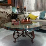 """Luxurious Wrought Iron Coffee Table embellished with a 48"""" Round Oxidized Copper Top by Mexports by Susana Molina"""