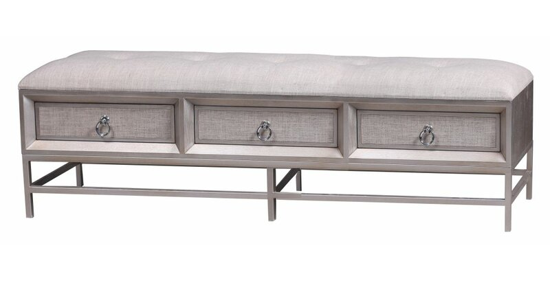 Cole & Grey Metal and Wood Storage Bench   Wayfair