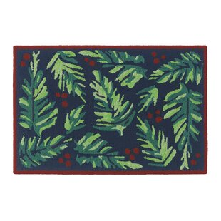 Balsam and Berries Hand-Hooked Navy Indoor/Outdoor Area Rug