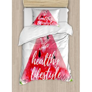 Healthy Lifestyle Themed Quote on Vivid Hand Drawn Watermelon Figure with Herbs Duvet Set by East Urban Home