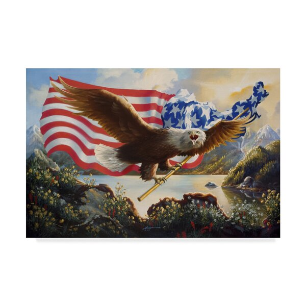 'Eagle Usa' Acrylic Painting Print on Wrapped Canvas