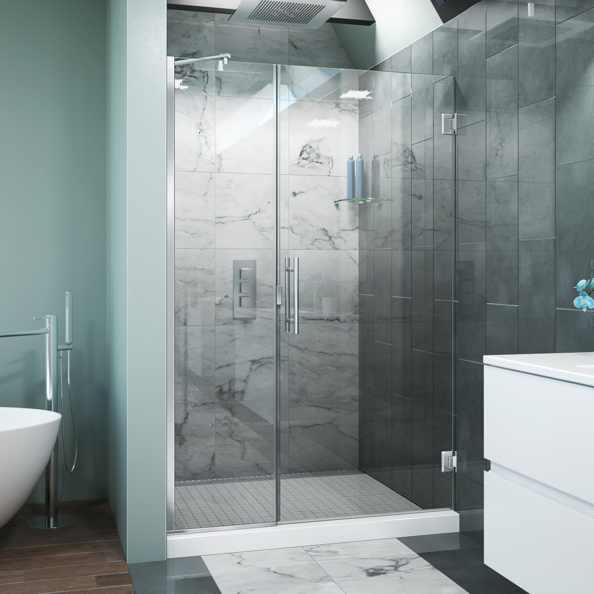 Arizona Shower Door Scottsdale 48 X 72 Hinged Frameless Shower Door With Invisible Shield By Clean X Wayfair