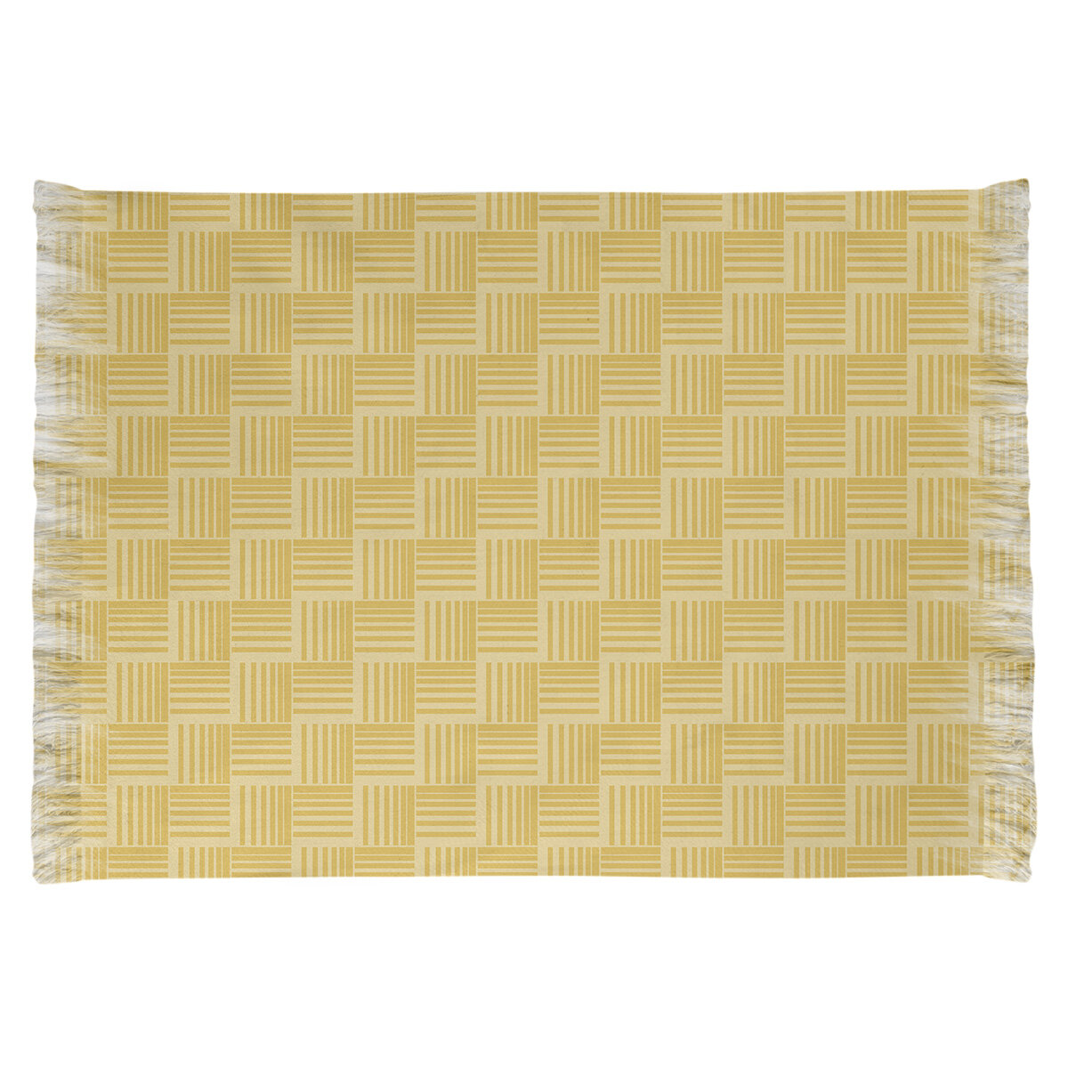 East Urban Home Basketweave Stripes Yellow Area Rug Wayfair