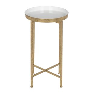 Kriebel Round Metal End Table by Bungalow Rose