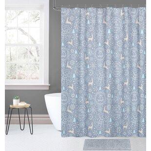 Price Check Overturf 14 Piece Joy Noel Holiday Jolly Christmas Plaid Shower Curtain Set ByThe Holiday Aisle