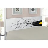 Flying Music Notes Disc Album Upholstered Panel Headboard by East Urban Home