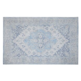 Elyse Handwoven Flatweave Wool Gray/Blue Area Rug by Ophelia & Co.