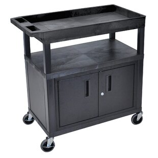 E Series Utility Cart with 2 Tub/1 Flat Shelves and Cabinet by Luxor