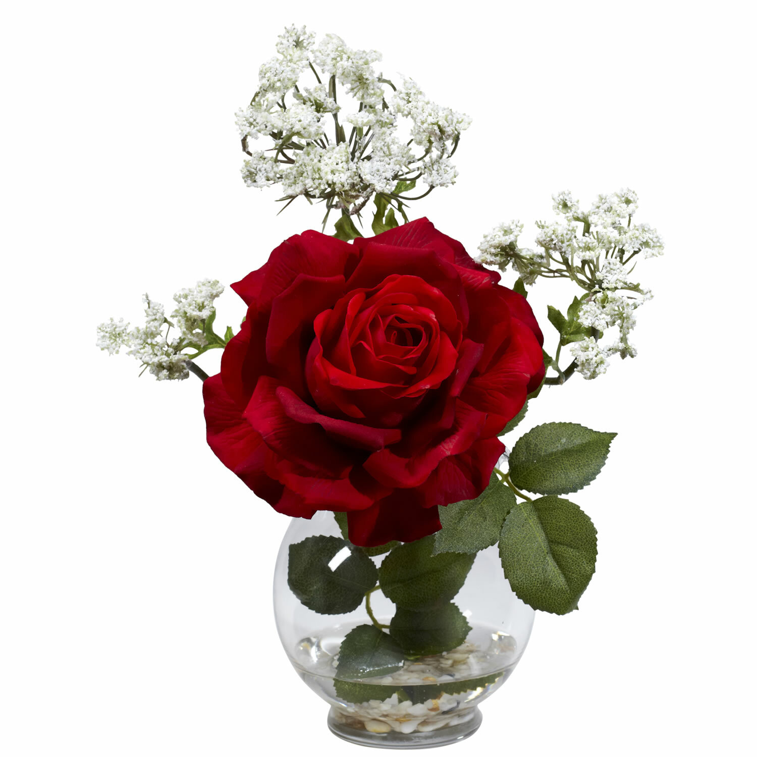 Nearly Natural Rose Gypso With Fluted Vase Silk Flower Arrangement