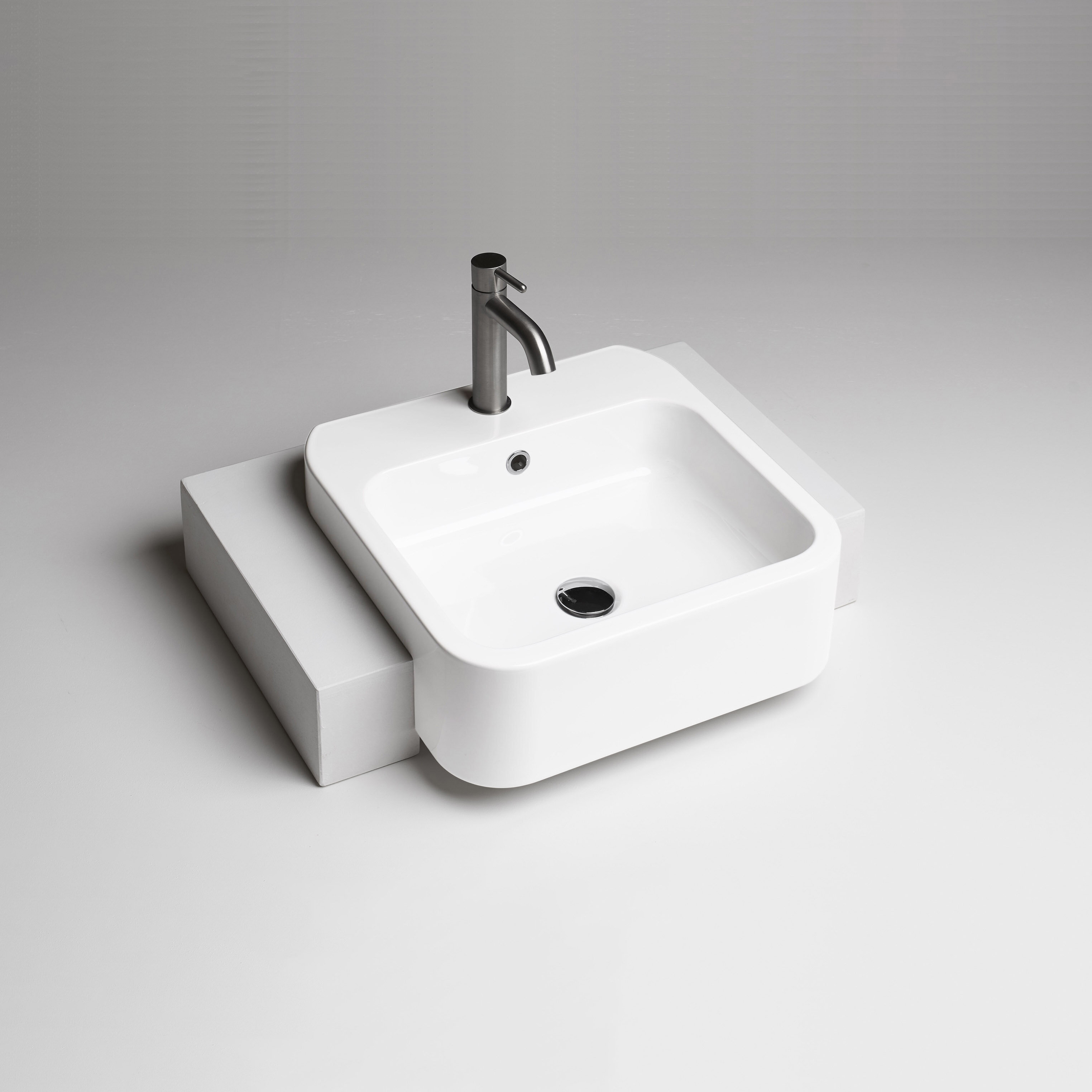 Ws Bath Collections Cosa Ceramic Rectangular Semi Recessed Vessel Bathroom Sink With Overflow Wayfair
