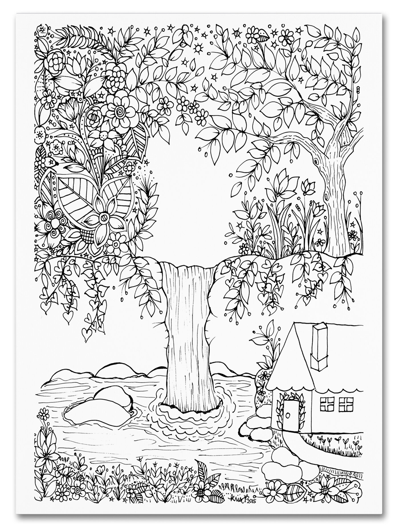 trademark art waterfall doodle by kcdoodleart graphic art on Vintage Conversation Pit trademark art waterfall doodle by kcdoodleart graphic art on wrapped canvas wayfair