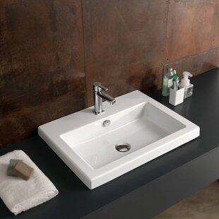 Read Reviews Cangas Ceramic Rectangular Drop-In Bathroom Sink with Overflow ByCeramica Tecla by Nameeks