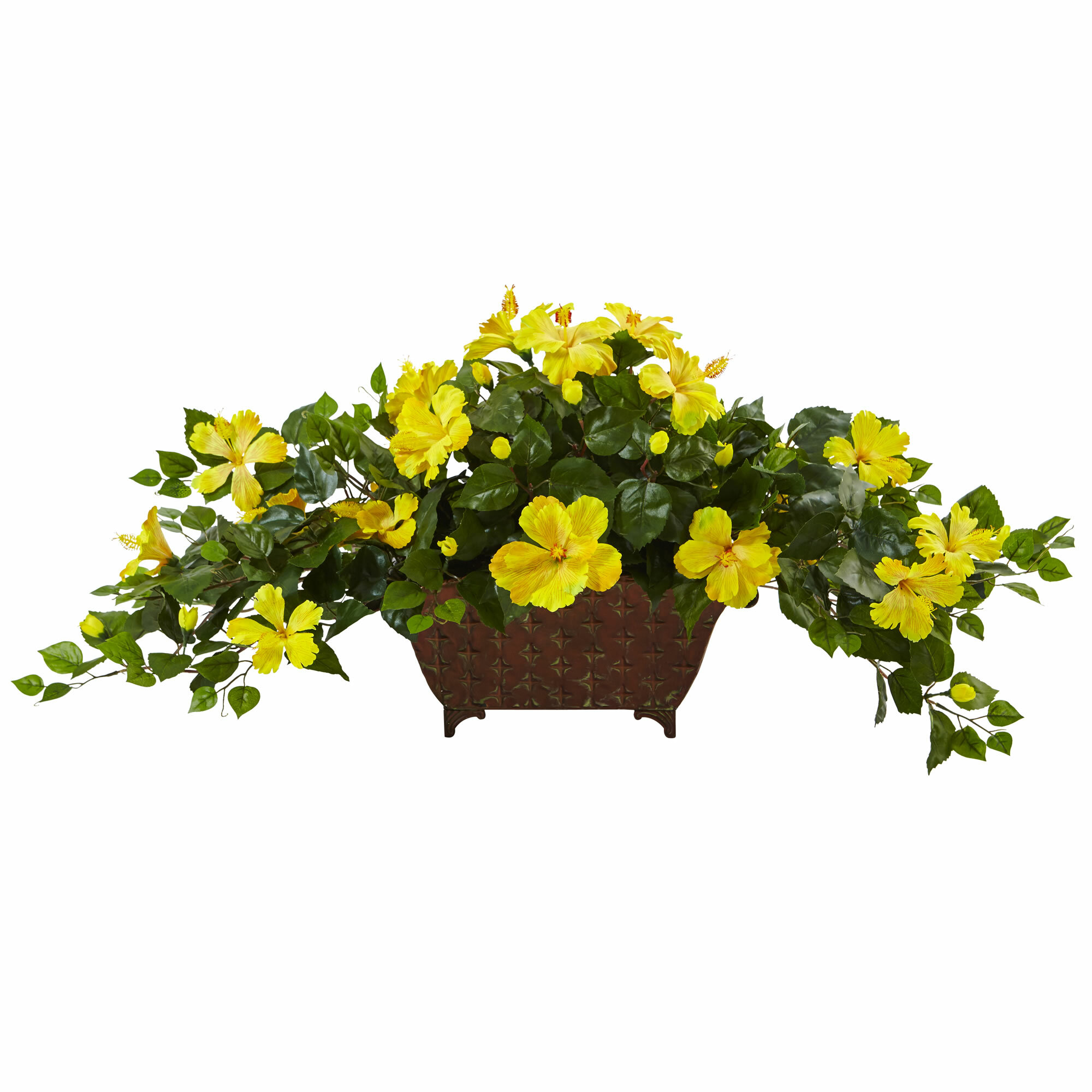 Nearly Natural Hibiscus Floral Arrangement In Planter Wayfair