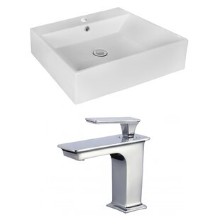 Bargain Ceramic Rectangular Vessel Bathroom Sink with Faucet and Overflow ByRoyal Purple Bath Kitchen