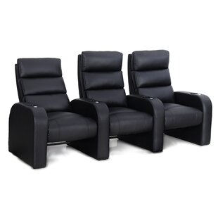 Bonded Leather Manual Rocker Recline Home Theater Sofa (Row of 3)