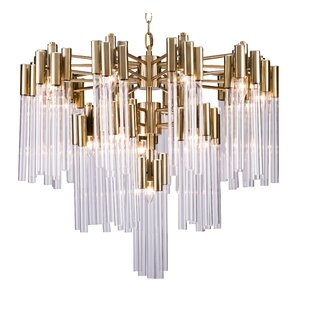 Great Price Kelsch Glass Tube 16-Light Chandelier By Everly Quinn