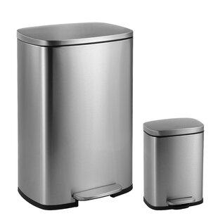 happimess Connor Rectangular Steel 12.98-Gallon Trash Can with Soft-Close Lid