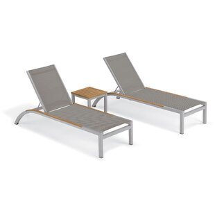 Saint-Pierre 3 Piece Reclining Chaise Lounge with Table