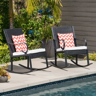 Kampmann Outdoor Wicker Rocking Chair with Cushions (Set of 2)