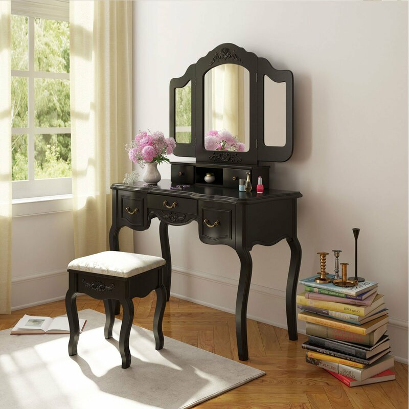 Alcott Hill Kingsford French Vintage Vanity Set with Mirror Wayfair