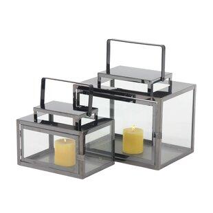 Rectangular 2 Piece Stainless Steel Lantern Set