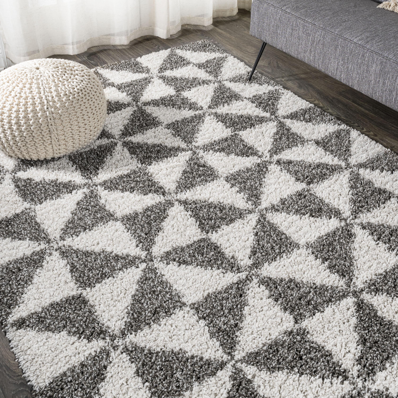 Corrigan Studio Kuehl Geometric Ivory Gray Area Rug Wayfair