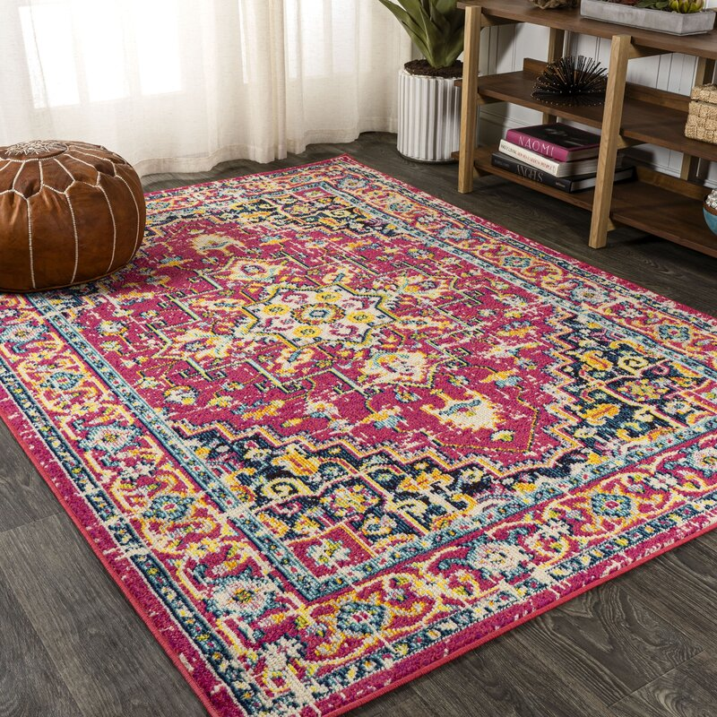 Bloomsbury Market Gleb Oriental Red Pink Yellow Area Rug Wayfair