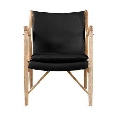 Rashad Armchair Corrigan Studio Upholstery: Black Italian Leather/Natural