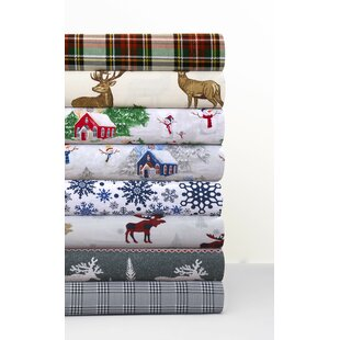 Plaid Moose 170-GSM Printed Flannel Extra Deep Pocket 100% Cotton Sheet Set