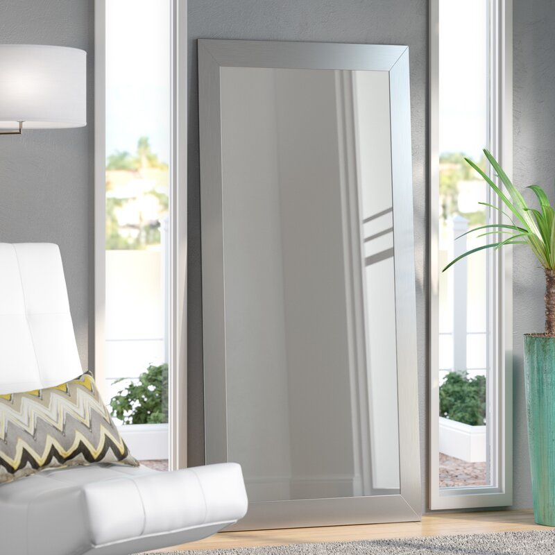 Wade Logan Brushed Nickel Aluminum Full Body Wall Mirror