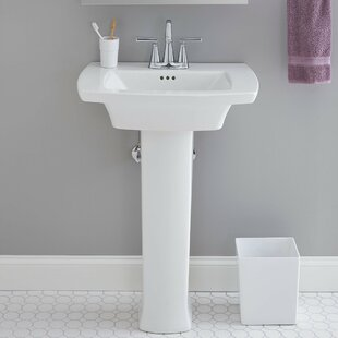 American Standard Edgemere Rectangular Pedestal Bathroom Sink with Overflow
