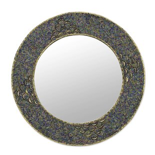Bloomsbury Market Antenore Glass Grandeur Beaded Wall Mirror