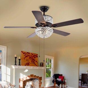 Hidden ceiling fan wayfair 52 5 blade laure crystal 6 light ceiling fan aloadofball Images